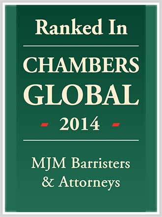 Ranked in CHAMBERS GLOBAL 2014 MJM Barristers & Attorneys